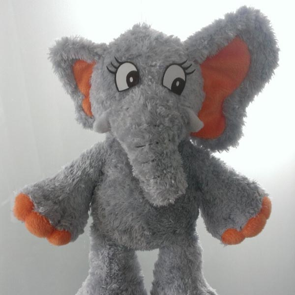 Plush elephant with one ear larger than the other to depict microtia.