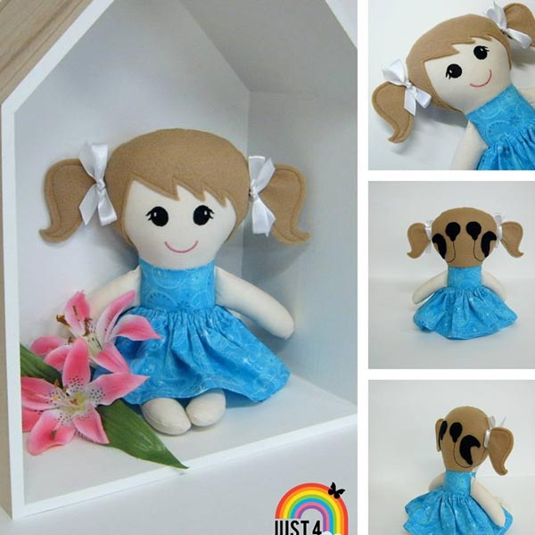 Image shows doll with cochlear implants