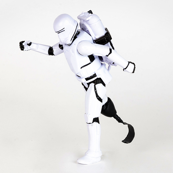 #ToyLikeMe makeover showing Star Wars Storm Trooper figure in running position with one prosthetic blade.