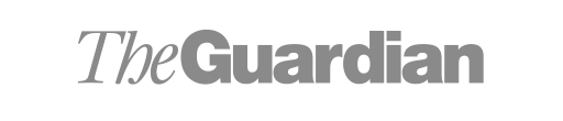 The Guardian logo in grey and white.