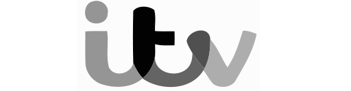 ITV logo in grey and white.