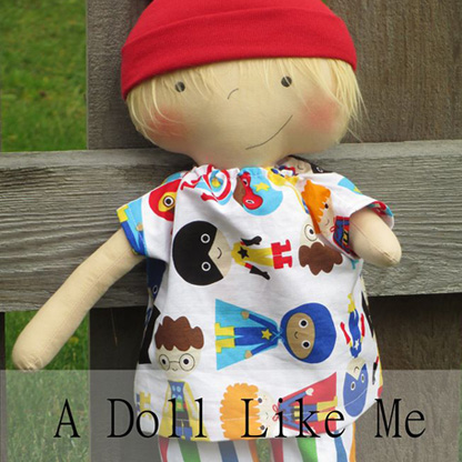 Image shows a doll with limb difference and text which reads