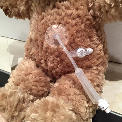 Image shows teddy bear with central line in the tummy.