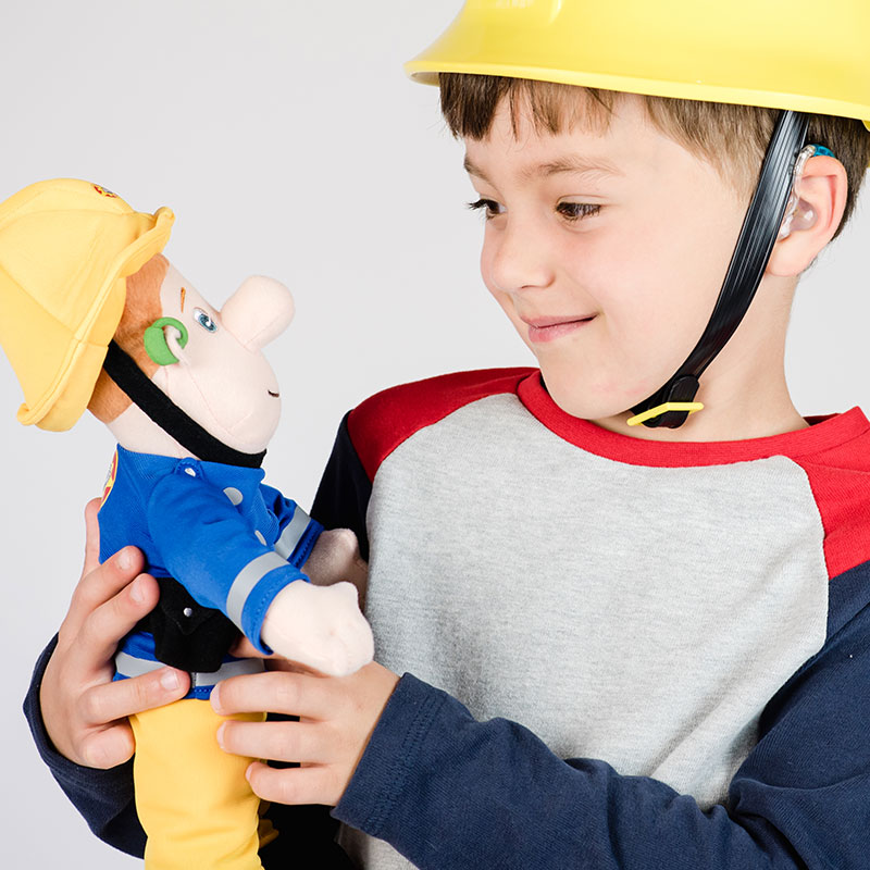 Image shows boy in fireman