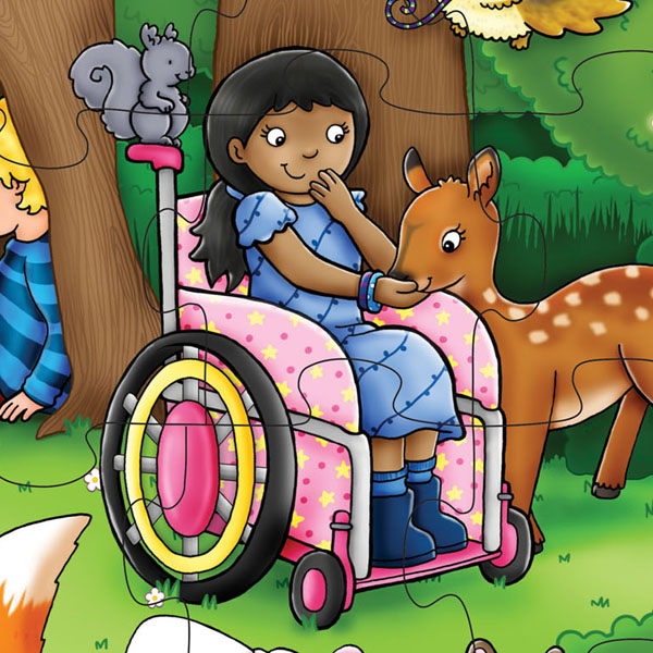Close up image of part of whole jigsaw. Section shows girl using a pink wheelchair and feeding a deer from her palm. There is a small squirrel sitting on the handle of her wheelchair.