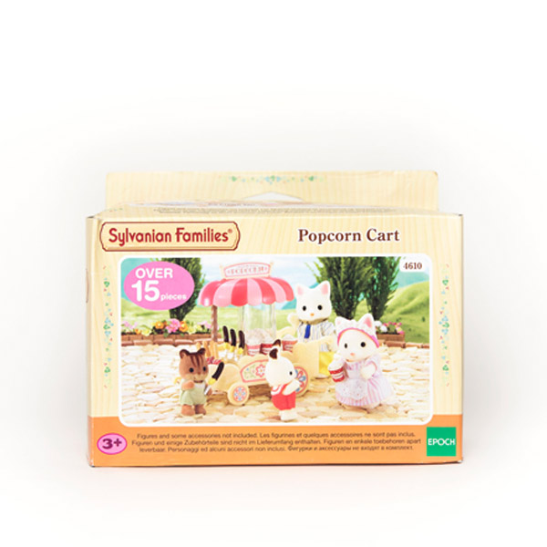 Sylvanian Families Popcorn cart box. Image on box shows pink wagon with small play foods and white cat figures.