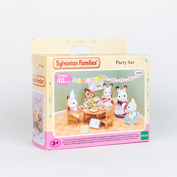 Image shows Party set box. The picture on the box shows Sylvanian creatures having a tea party around a table.