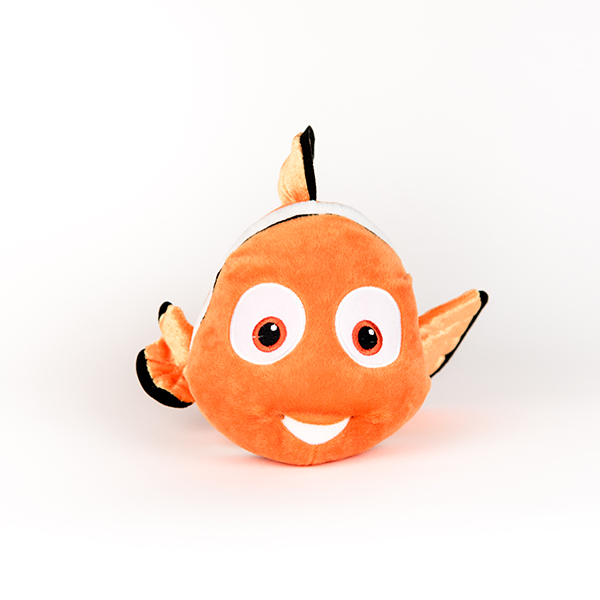 Image shows plush Nemo fish. One fin is larger than the other.