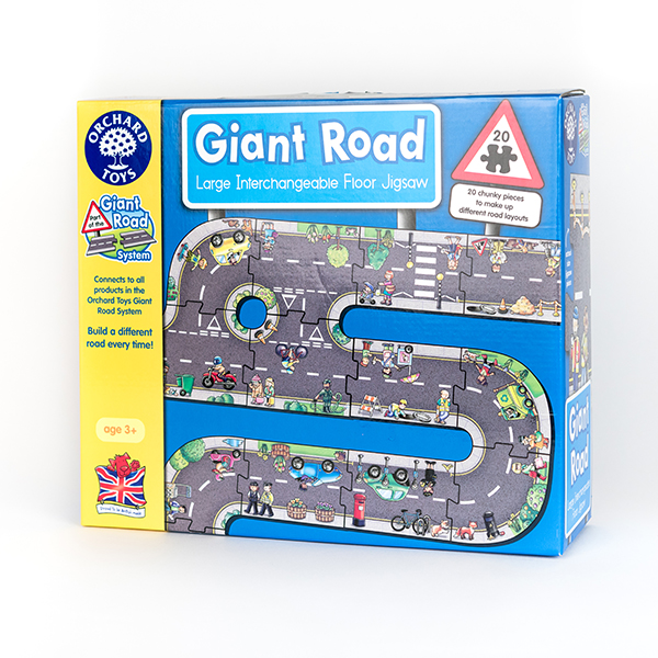 Image shows the box of a Giant Road Jigsaw. The picture on the box shows a network of grey roads with characters and cars.