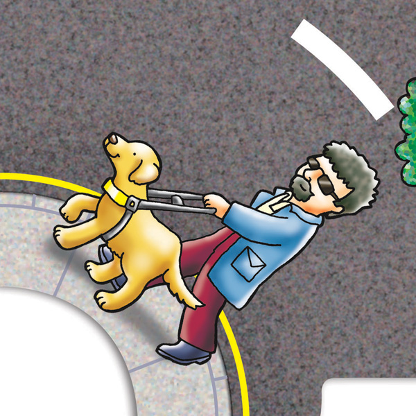 Close up of a section of a larger jigsaw. Section shows man walking down the street with a working guide dog.