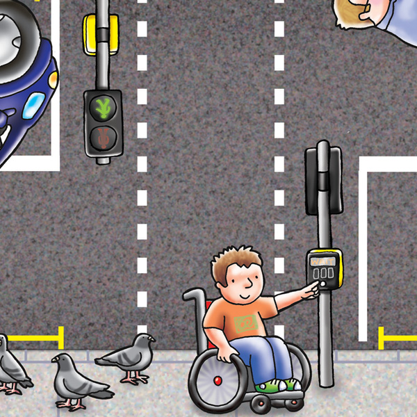 Close up of a section of a larger jigsaw. Section shows image of boy using wheelchair pressing the button at a roadside crossing. There are pigeons on the pavement beside him.
