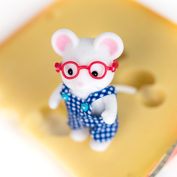 Image shows Sylvanian Families toy mouse wearing red glasses, with a slab of cheese.