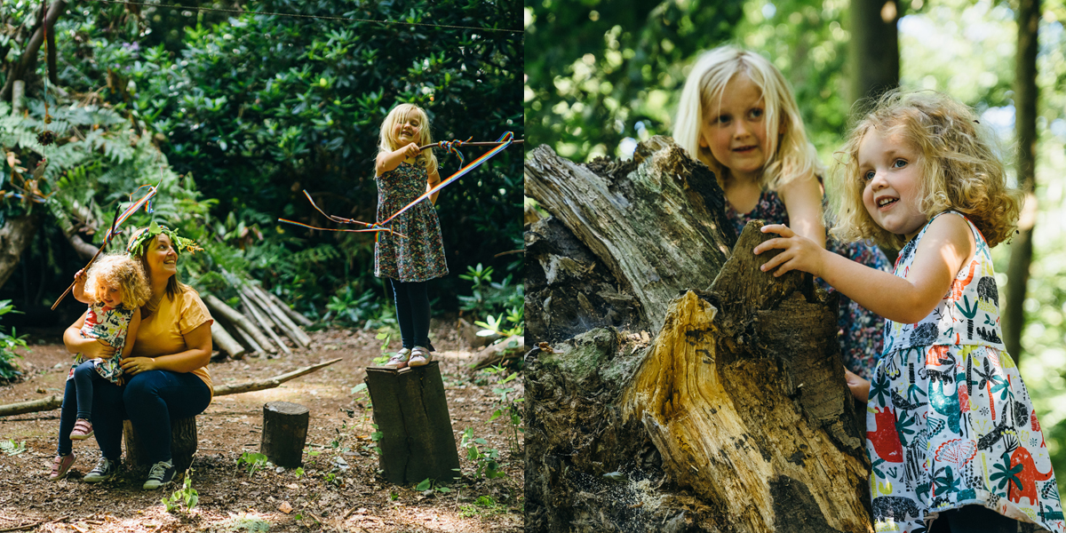 Two photos showing girls playing in a forest